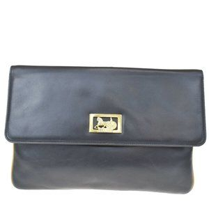 Authentic CELINE Horse Carriage Clutch Bag Leather